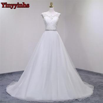 Fast Shipping Beach Wedding Dress Princess Lace A line Appliques Scoop Bridal Gown Luxury Vintage Vestido De Novia Plus Size