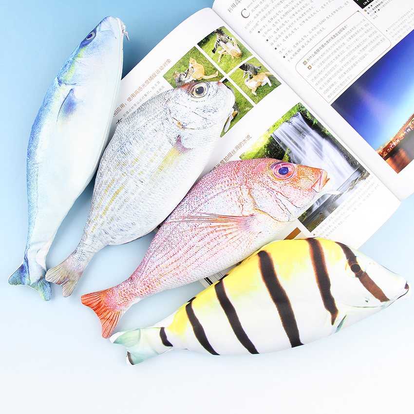 1 PC Creative Fashion Fish Shaped Pencil Bags Animal Pencil Box Pencil Case Of Large Capacity School Funny Gift