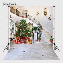 NeoBack 5x7ft виниловая Ткань фотографии фоны урожай Рождественская Елка Лестницы Посмотреть Свадебное Фото фонов предложил B0643