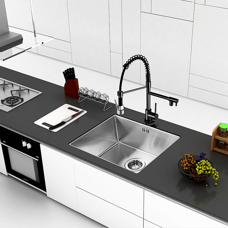 Black Chrome Kitchen Faucet Tap Two Swivel Spouts Extensible Spring ...