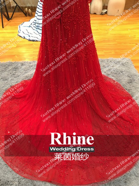 Rhine Real Sample Image Luxurious Boat Neck FUll Beads Pearls Luxurious A-line Fashion Gown Evening Dresses