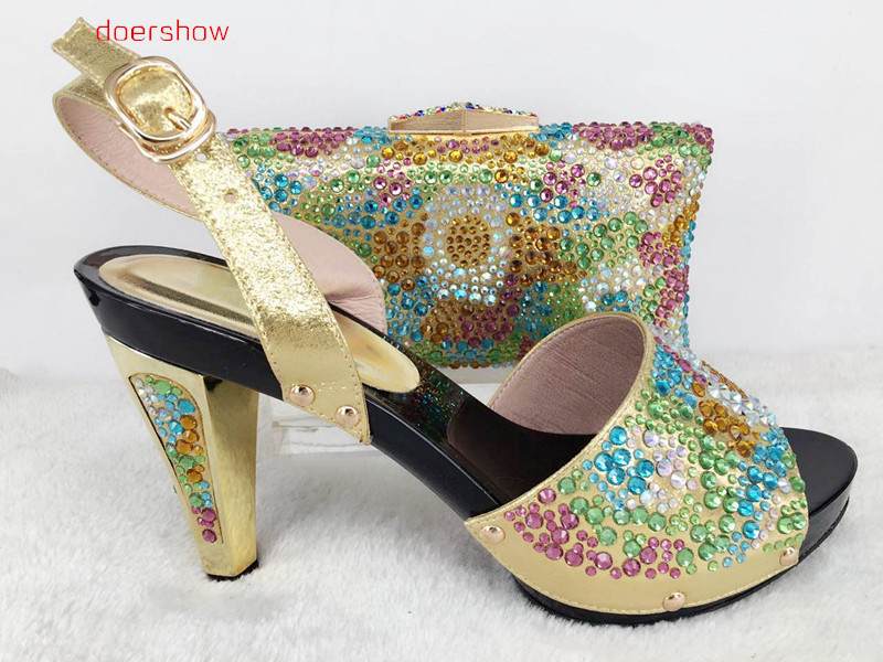 doershow New Arrival Shoes and Bag To Match Italian African Shoe and Bag Sets Women Shoe and Bag To Match for party Hlu1-33