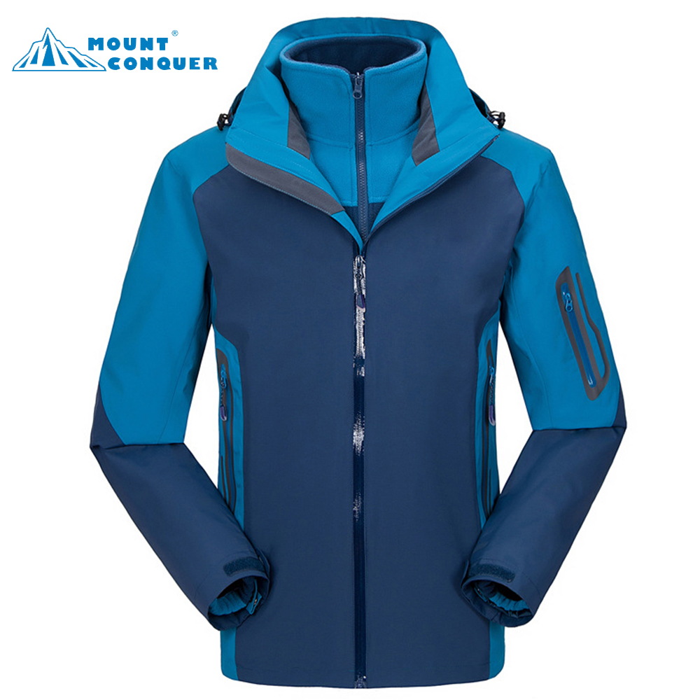 Men's Outdoor Windproof Warm Three In One Jaqueta Hooded Coat Winter Hiking Jackets Two Sets Fleece Softshell Jacket fred blunt one two three