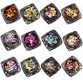 New 12PCS Hot Fashion Mixed Mini Round Thin Nail Art Glitter Paillette Nail Tip Bottle Gel Polish Decoration Manicure Tools