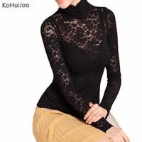 KoHuiJoo 5XL 6XL Women Shirts Fashion Long Sleeve Lace Blouses Autumn Winter Ladies Hollow Out Lace