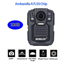 BOBLOV HD66 02 Body Worn Camera Police Force Pocket Video Recorder 32GB 1296P Night Vision with 2 Batteries