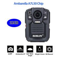Boblov hd66 02 Средства ухода за кожей носить Камера полиции карман видео Регистраторы 32 ГБ 1296 P Ночное видение с 2 Батареи