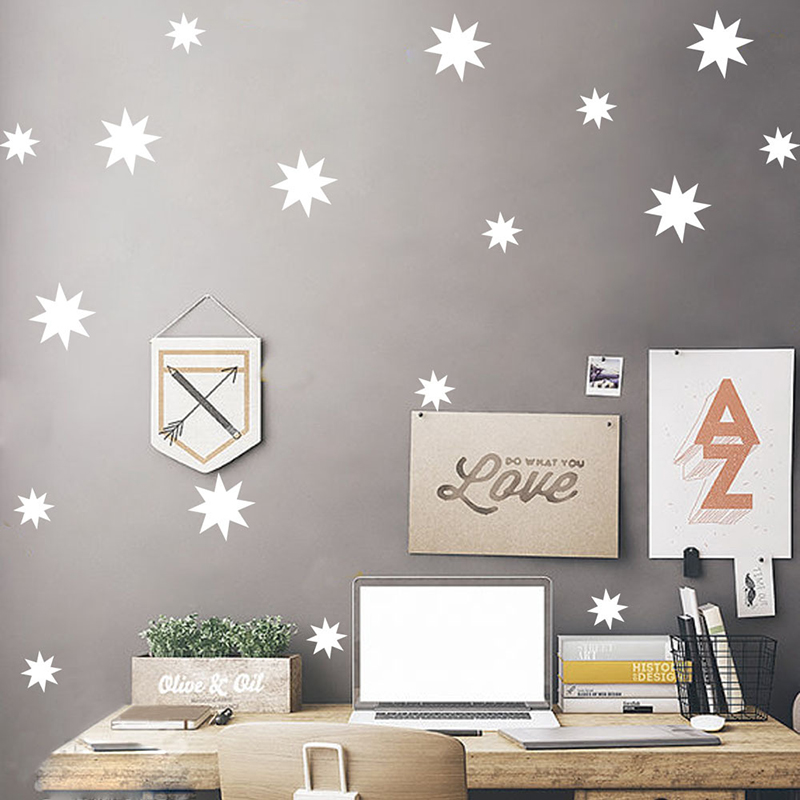 Nordic style Five pointed star Wall Sticker DIY Wall Art Decals for kids children bedroom nursery home decoration 76pcs A10 019 in Wall Stickers from Home Garden