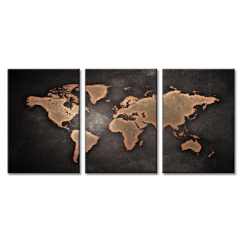 3 pannello di pittura della tela di canapa grigio mappa del mondo pittura stampe di arte