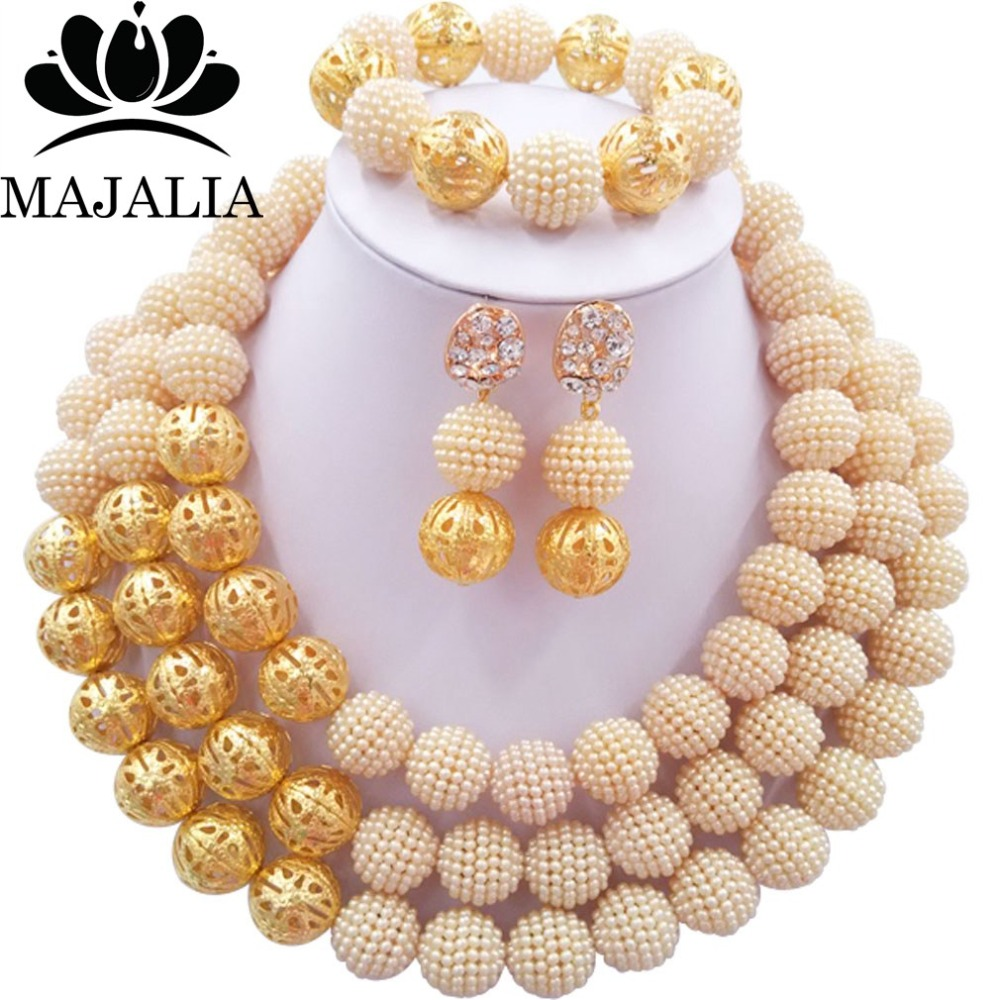Fashion african wedding beads beige plastic nigerian wedding african beads jewelry set Free shipping Majalia-271