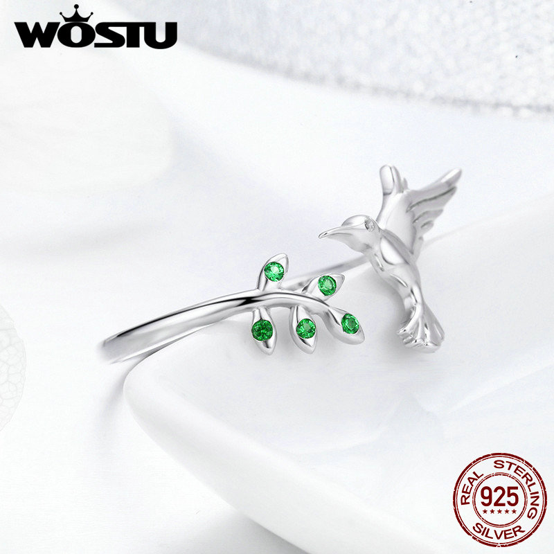 WOSTU Authentic 925 Sterling Silver Ring For Women Adjustable Open Size Rings Wedding Engagement Silver Jewelry Gift FIR323