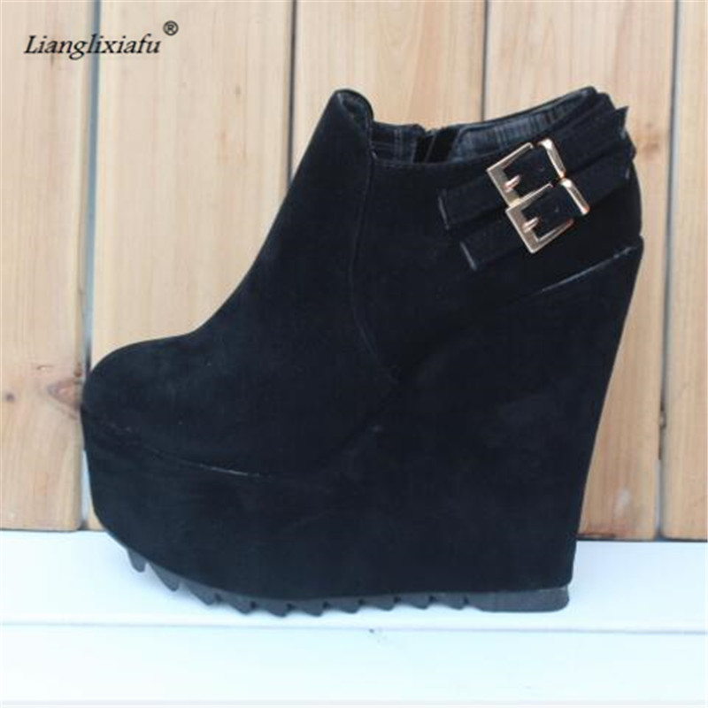 LLXF Ankle Buckle Boots 15cm High-heeled platforms Round Toe Shoes woman Stiletto female Wedges Pumps Small Yards:31 32 33 34 sandals genuine leather new woman s shoes high heel 10cm platform 1cm female summer small yards small yards eur size 34 39 page 5