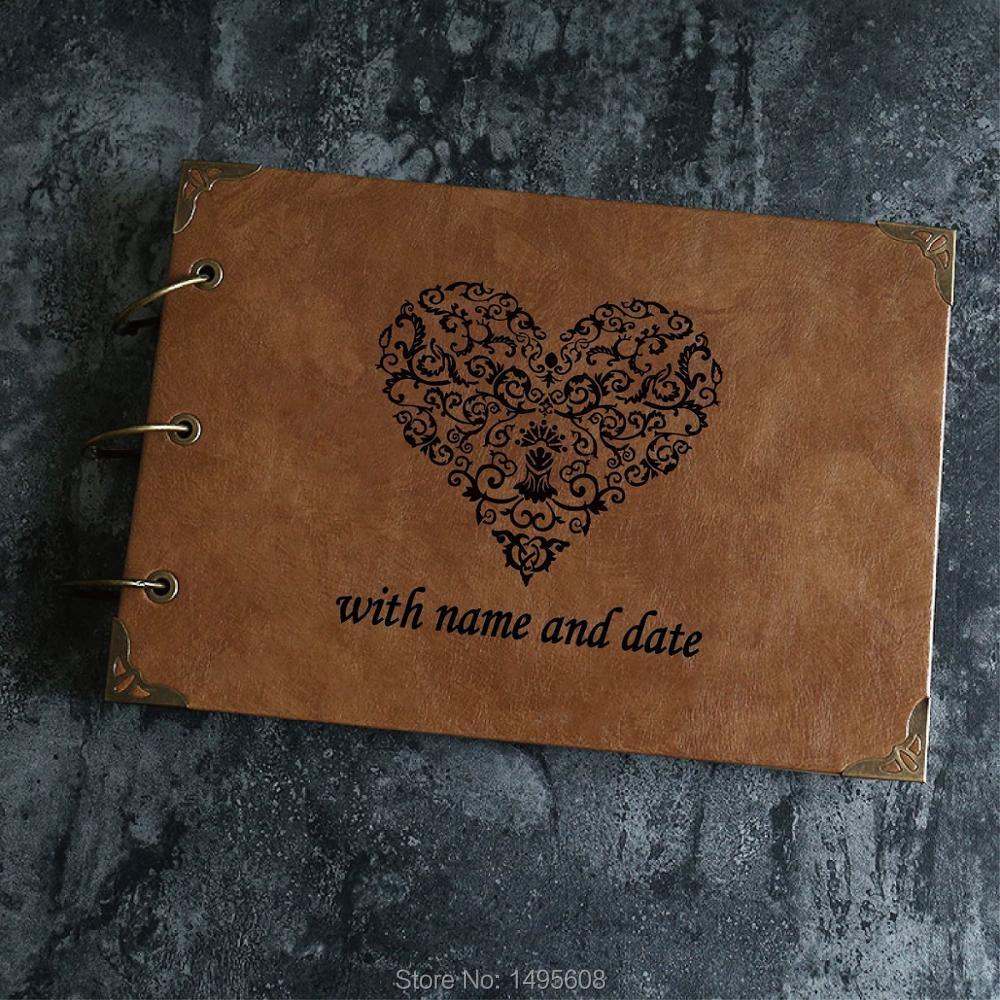 e04c4e14baf4f US $4.2 16% OFF|A4 Custom PU Wedding Guestbook Laser Leather Photo Album /  Engraved Scrapbook / Kraft Scrapbook Album-in Photo Albums from Home & ...
