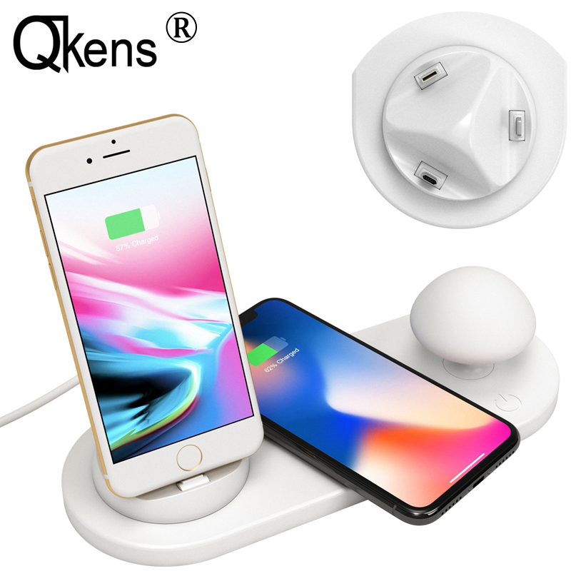 5in1 10W USB Charging Dock Station Qi Wireless Charger Desktop Mushroom Light for iPhone XS MAX
