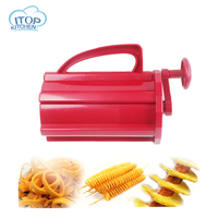 ITOP Manual Twisted Potato Slicer Red ABS Plastic Tornado Carrot Cutter 3 in 1 Slicing Machine