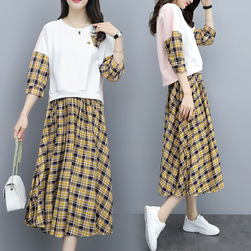 Spring Plaid Two Piece Sets Women Sweatshirt Tops And Pleated Skirt Sets Suits Casual Korean Female Women's Sets Costumes 2019 28