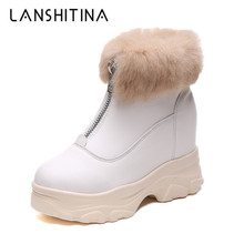 купить Women Winter Warm Boots 2019 New Ankle Boots Wedge Heels Sneakers Warm Rabbit Fur Snow Boots 9CM Thick Sole Platform Shoes Woman онлайн