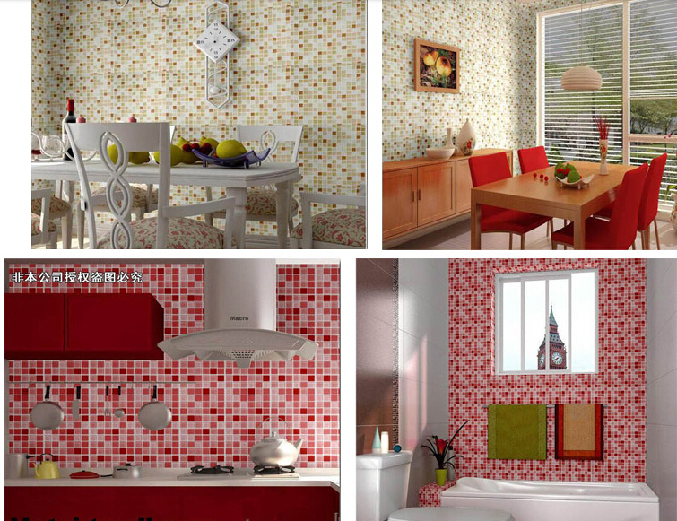 US $88.2 10% di SCONTO Decorazione della cucina carta autoadesiva parete  impermeabile bagno rotolo pvc mosaico olio adesivi murali home decor  film-in ...