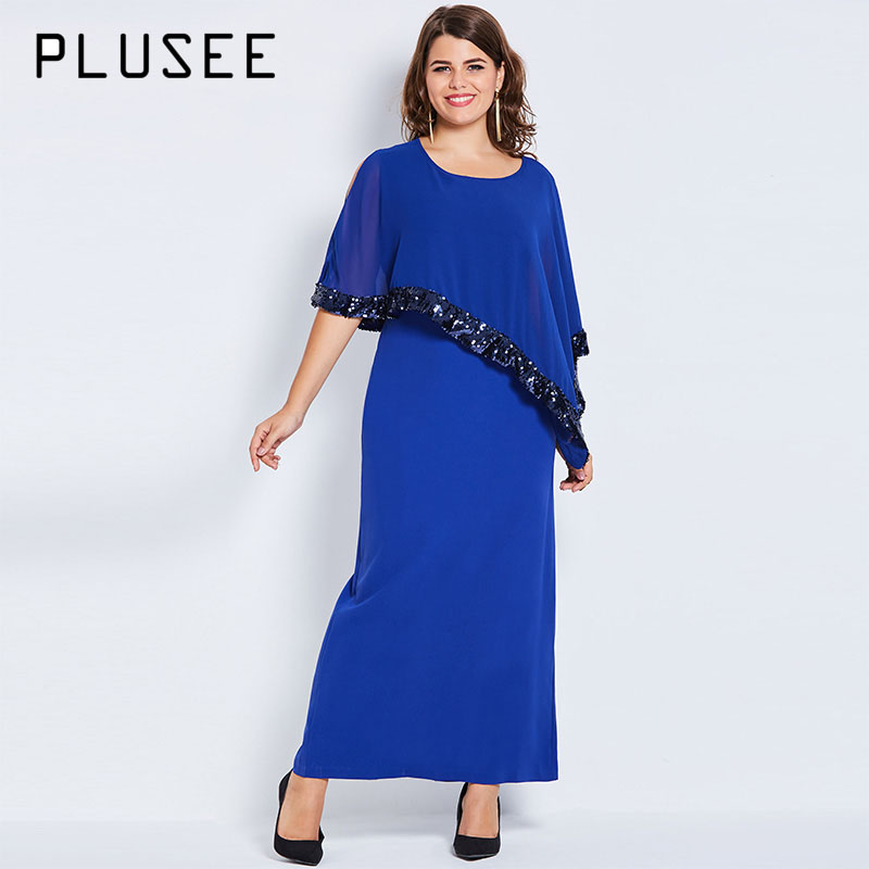 Plusee Plus Size Women 4XL 5XL Autumn Blue Dress Half Batwing Sleeve Zipper Ankle Length Round