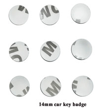 Adesivo de logotipo para chave de carro, adesivo com emblema em 3d, de metal e com diâmetro de 14mm, chave de carro, 10 pçs/lote emblema do emblema