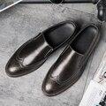 Los nuevos zapatos casuales de negocios Británico de pies de ajuste retro estilista de Bueyes tallados zapatos Metrosexual Coreana