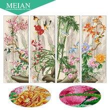 Meian, de forma especial, bordado de diamantes, floral, plum, 5d, pintura diamante, punto de cruz, 3d, mosaico de diamantes, decoración, navidad