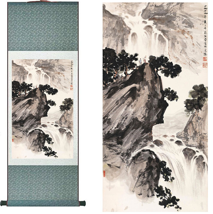 landscape painting Home Office Decoration Chinese scroll painting mountain and River paintingPrinted painting
