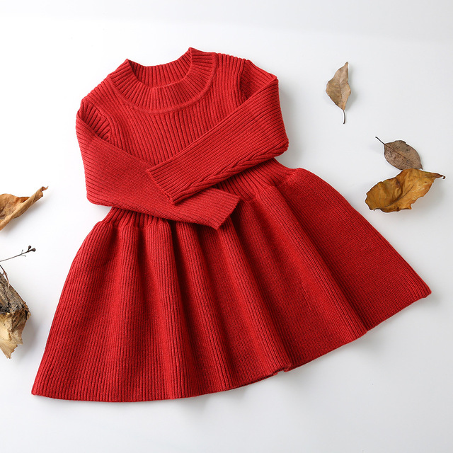 2019 Autumn Winter Girls Wool Knitted Sweater Baby Girl dress Girls Dresses For Party And Wedding Baby Girl Clothes 1