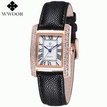Relogio feminino cuarzo de La Manera Mujeres Del Reloj de Señoras de los relojes de Marca de lujo de Cuero Genuino De Oro Rosa Dial Square relojes mujer 2016