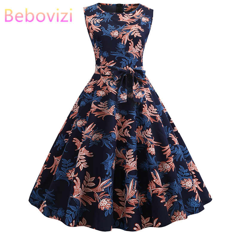 Bebovizi 2019 Summer Fashion Women Sleeveless Flower Print Black Dresses Plus Size Vintage Casual Office Elegant Bandage Dress