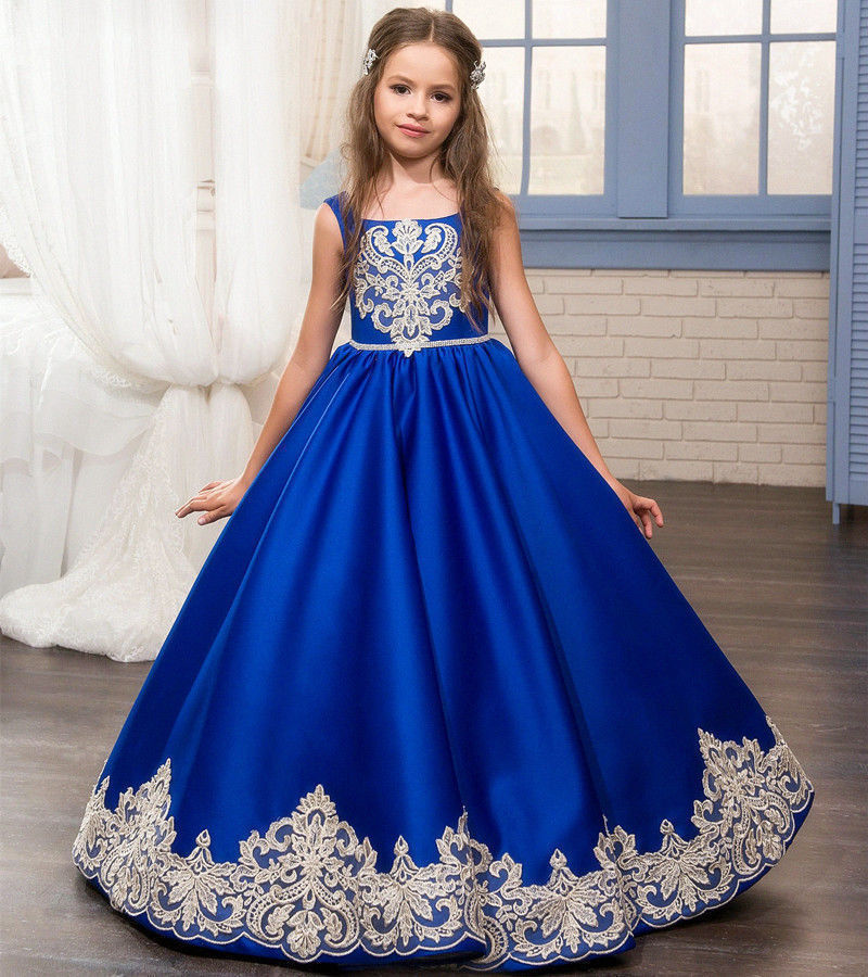 Girl Communion Party Prom Princess Pageant Bridesmaid Wedding Flower Girl Dress New Dress 2017 new flower embroidery girl dresses pageant party wedding bridesmaid ball gown prom princess long dress girl clothes