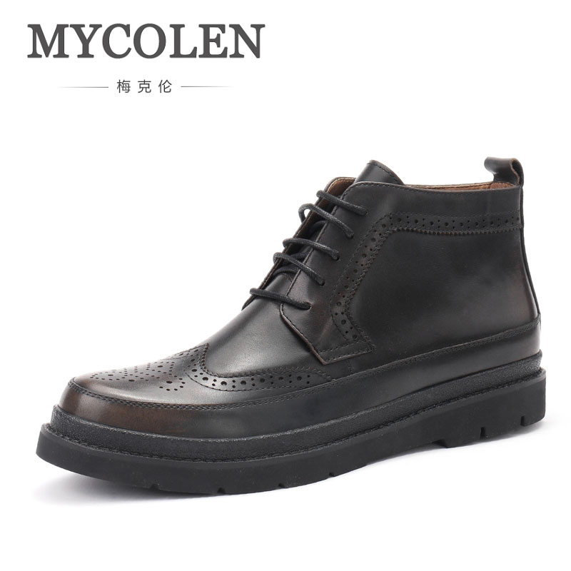 MYCOLEN New Arrival Man Leather Boots Black Men Top Quality Solid Winter Bullock Carved Boots Boots Lace-Up Leather Boots Man