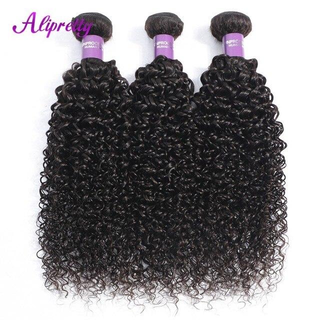 Alipretty brasileño rizado de la armadura del pelo paquetes de 8-28 pulgadas Color Natural 3 paquetes 100% tejido de cabello humano no Remy extensiones de cabello