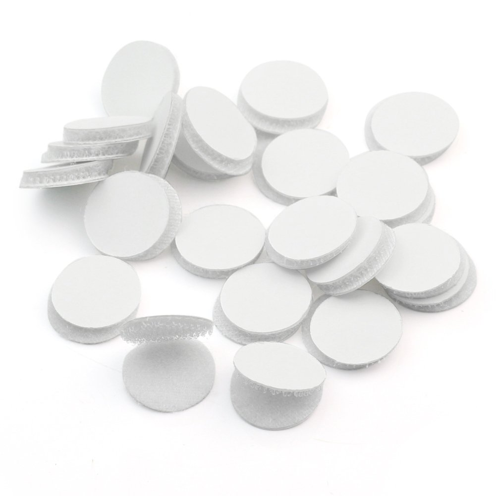 Practical 50 Pairs Magic Sticky Self Adhesive Buckle Hook Loop Round Pads Craft Tape White