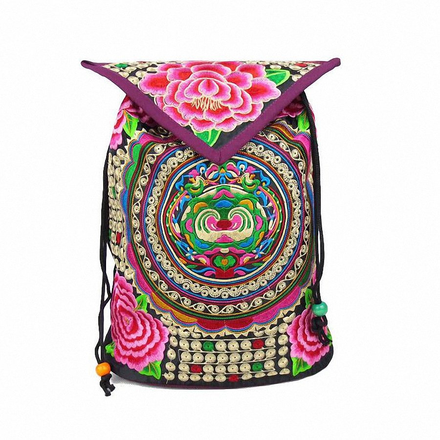 School bag embroidery - National Trend Embroidery Ethnic Backpack Women Handmade Canvas Embroidered Bag Travel Bags School Bag Backpacks Mochila