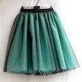 Verde Imperio vestido de bola Del Cordón de Tulle de La Falda Para Mujer Ocasional 6 capas Negro Falda Larga De La Moda Otoño Tutú Faldas de Verano Personalizados hecho