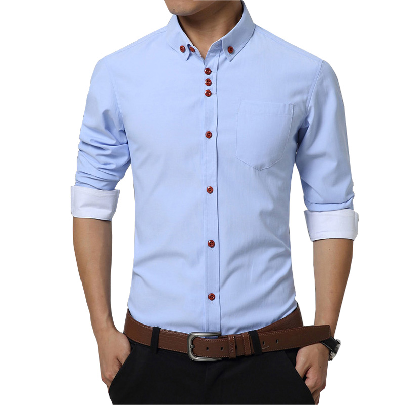 High Quality Solid Men Dress Shirt Brand Fashion Cotton