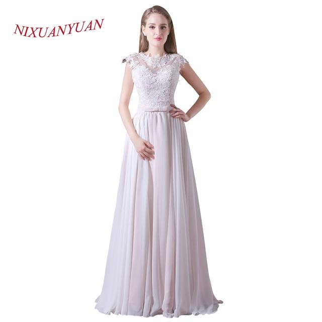 8146955afb NIXUANYUAN 2018 New Real Photo O Neck Chiffon Formal Gowns Elegant  Appliques Long Evening Dress 2017 A Line vestidos de noite