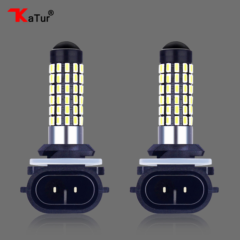 Katur 2x H27W/2 881 Auto Bulb Car Light Lamp H27 Led Fog Light Car Daytime Running Light Driving H27W 2 DRL Light 6000K White 2pcs universal car daytime running light led cob 12v drl auto driving front fog lamp white bulb waterproof 6000k