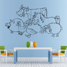 New arrival Animals sticker Pig Hen Duck Cow Horse Sheep Wall Sticker For Kids Room Vinyl Art Decal