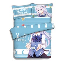 Japan Anime Is the order a rabbit Kafuu Chino Bed Blanket or Duvet Cover with Two Pillow cases is the order a rabbit kafuu chino 1 7 scale painted figure collectible model toy 21cm