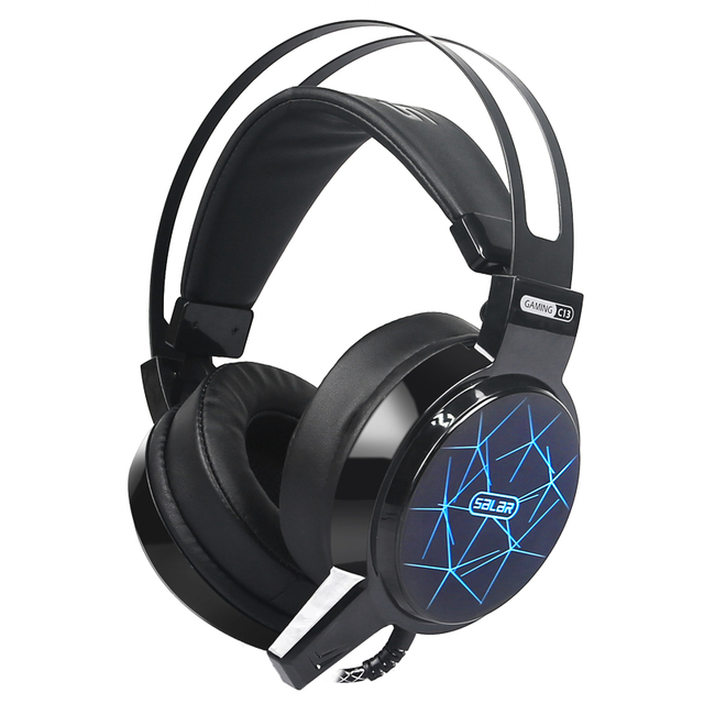 Salar C13 Gaming Big Headset Wired Headband with Mic/LED Light Over Ear 2