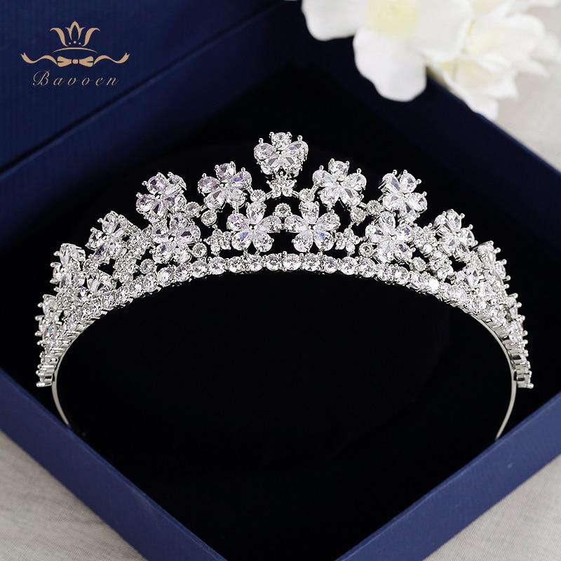 Royal Flower Zircon Tiaras Crown For Brides Sparkling Crystal Hairbands Silver Wedding Hair Accessories Bridesmaid Headwear