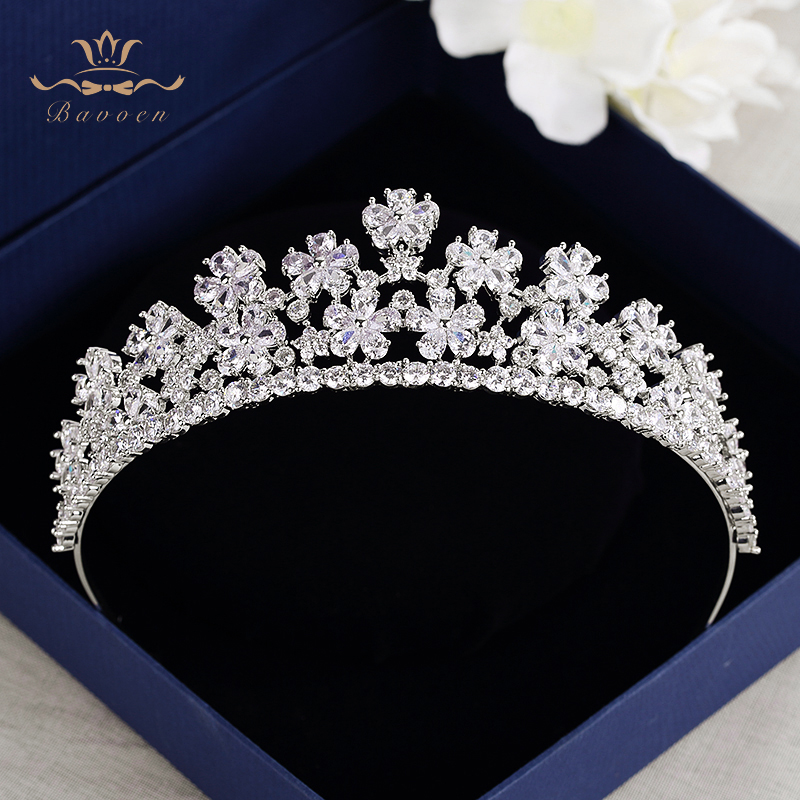 Royal Flower Zircon Tiaras Crown For Brides Sparkling Crystal Hairbands Silver Wedding Hair Accessories Bridesmaid Headwear christmas heart snowflake halloween spider bowknot projector lights led stage lamps