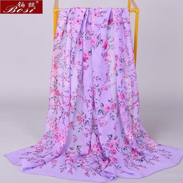 Chiffon scarf winter shawl schal scarves poncho women scarfs ethnic big flower hijab  scarfs luxury ladies retro schal160*60 new 5