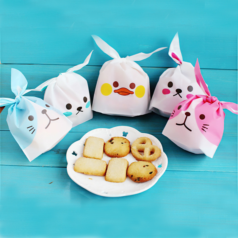 Hot 10pcs/lot Cute Rabbit Ear Cookie Bags Gift Bags For Candy Biscuits Snack Baking Package Wedding Favors Gifts Easter Decor