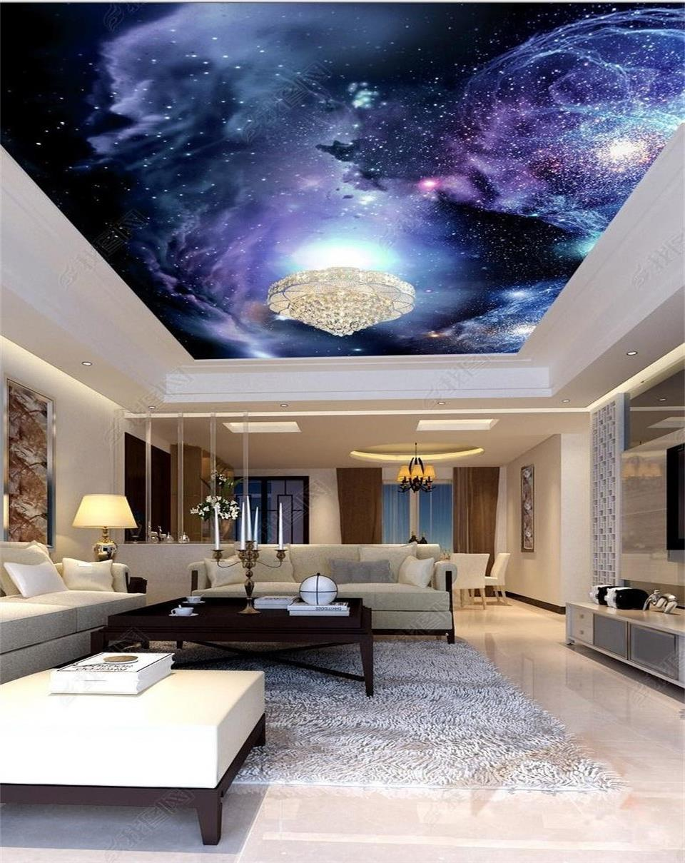 3d papier peint personnalis photo plafond chambre murale r ve univers ciel toil peinture tv. Black Bedroom Furniture Sets. Home Design Ideas