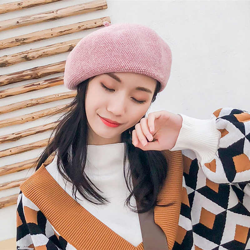 c82d18b7e535e Fashion Wool hat knit painter cap for Women beret female hat autumn and winter  Warm British