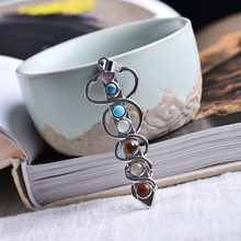 1PC Fashion Colorful Natural Crystal Energy Love Friendship Powerful 7 Chakra Healing Stone Pendant DIY Gift Jewelry