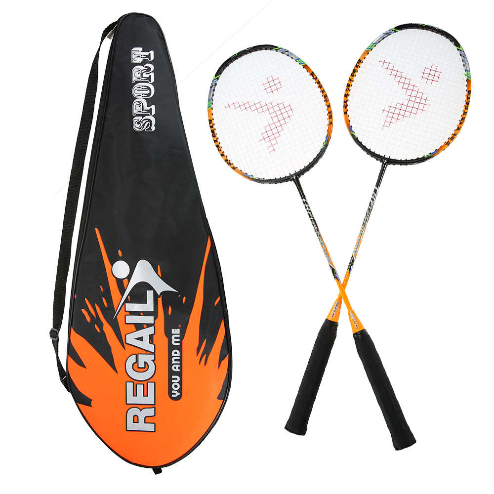 REGAIL 88g 2 Player Badminton Racket Replacement Set Carbon Fiber Badminton Racquet Ultra Light Badminton Racket with Bag